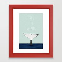 FREE THE WHALES Framed Art Print