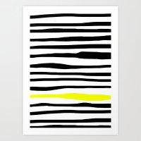 Neon Zebra Stripes Art Print