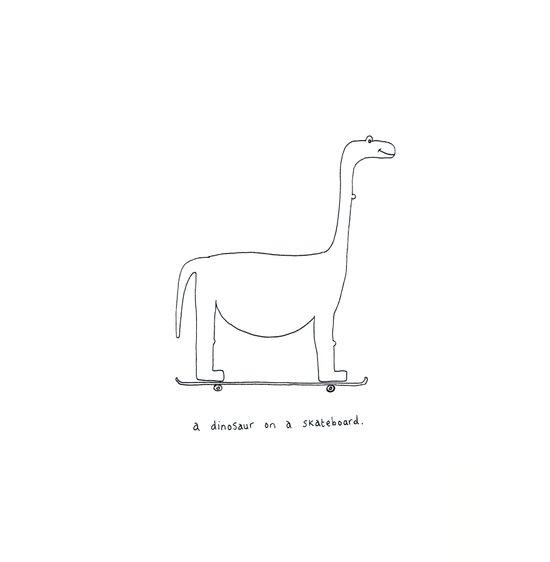 a dinosaur on a skateboard. Art Print