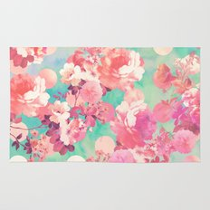Romantic Pink Retro Floral Pattern Teal Polka Dots  Rug