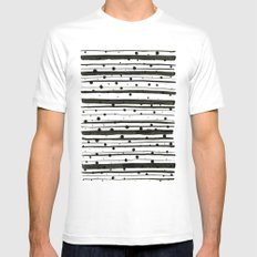 Dots and Lines Mens Fitted Tee White SMALL