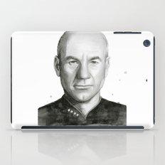 Captain Picard Watercolor Portrait iPad Case