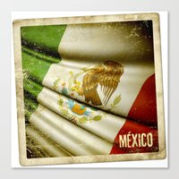 STICKER OF MEXICO Flag Canvas Print