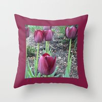 Throw Pillow featuring Queen of Night Tulips by Rogue Crafter