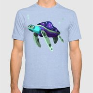 Space Turtle  Mens Fitted Tee Tri-Blue SMALL
