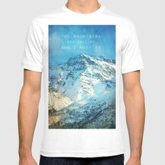 Adventure. The mountains are calling, and I must go. John Muir. Mens Fitted Tee White SMALL