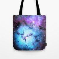Blue Floral Nebula Tote Bag
