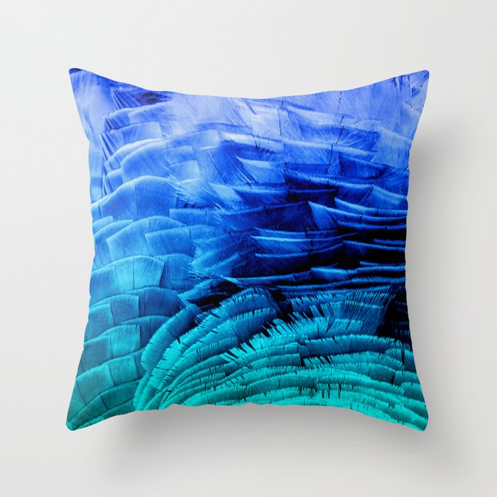 RUFFLED BLUE Throw Pillow by Catspaws Society6