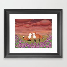 affectionate foxes and purple petunias Framed Art Print