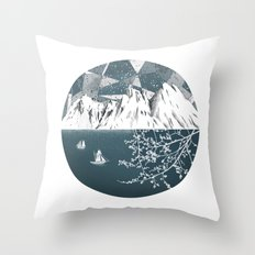 Mountain print , Navy Blue poster , mid century Modern art , travel poster Throw Pillow