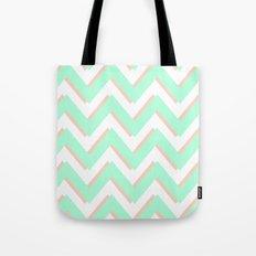 3D CHEVRON MINT/PEACH Tote Bag