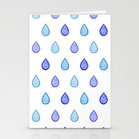 Blue Raindrops Stationery Cards