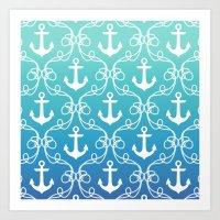 Nautical Knots Ombre Art Print