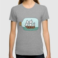 Ship In A Bottle Womens Fitted Tee Tri-Grey SMALL