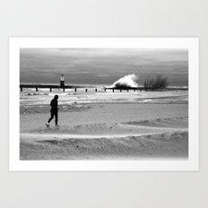 Waves on Lake Michigan in Chicago Art Print