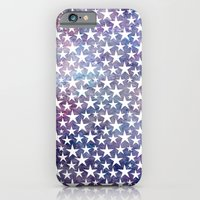 White stars on bold grunge blue background iPhone 6 Slim Case