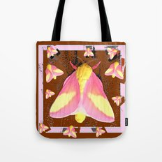 Pink-Yellow Moths Coffee Brown Art design Tote Bag