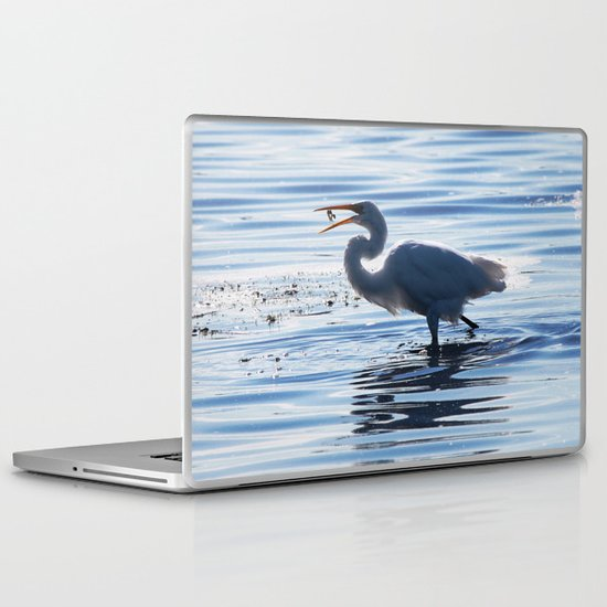 Great Egret Catch Laptop & iPad Skin