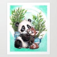 Panda Red Panda Art Print