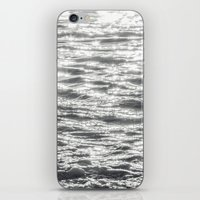 Glittering Early Sunlight Bouncing Off Gentle Waves in Monochrome Black and White iPhone & iPod Skin