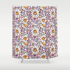 Large Blush Daisies Tiled Shower Curtain