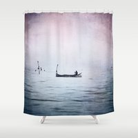 The Lonely Man and The Infinite Sea Color Version Shower Curtain