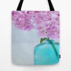 Pink Hydrangea Flowers in Blue Bottle Tote Bag