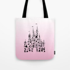 Ombre Pink silhouettes in a castle Tote Bag