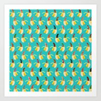 Anna Banana on blue Art Print
