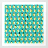Anna Banana On Blue Art Print