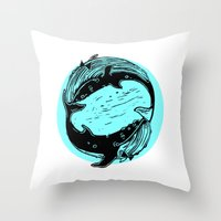 Having Fun Color (Whales) Throw Pillow