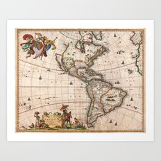1658 Visscher Map of North America & South America (with 2015 enhancements) Art Print