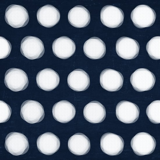 painted polka dots- navy and white Art Print