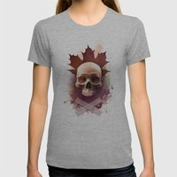 Skull and Leaf Womens Fitted Tee Athletic Grey SMALL