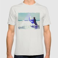 Surfing Devon Mens Fitted Tee Silver SMALL