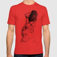 Pretty Lady Illustration Mens Fitted Tee Red SMALL