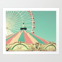 Colorful Tent and Ferris Art Print