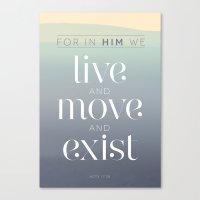 live / move / exist Canvas Print