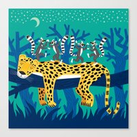 The Leopard and The Lemurs Canvas Print