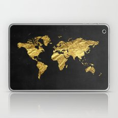 Black Gold Decor, Gold World Map, Office Decor, Bathroom, Glam, Black Wall Art Laptop & iPad Skin
