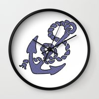 Blue Anchor Wall Clock