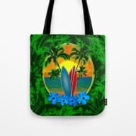 Sunset Surfboards And Pa… Tote Bag