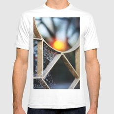 The fence, the spiderweb and the sun Mens Fitted Tee SMALL White