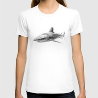 Shark I Womens Fitted Tee White SMALL