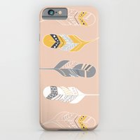iPhone & iPod Case featuring Multi Colored Feathers in Peach by Yellow Heart Art