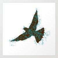 Bird Fly No. 2  (Brown/A… Art Print