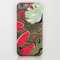 iPhone Cases featuring Watermelon surf dream by Yetiland