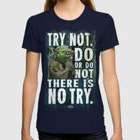 Yoda Jedi Master Giclee Art Print/ Geekery Poster / Fan Art Womens Fitted Tee Navy SMALL