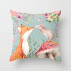 Fox & mouse Throw Pillow