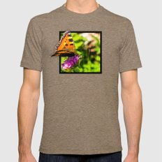 Butterly on the flower 3D pop out of frame effect Mens Fitted Tee Tri-Coffee SMALL